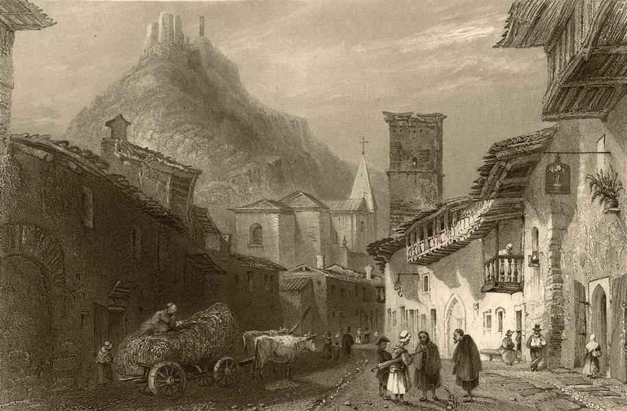 Associate Product PIEDMONT/PIEMONTE. View of Sant'Ambrogio di Torino, near Susa. BARTLETT 1838