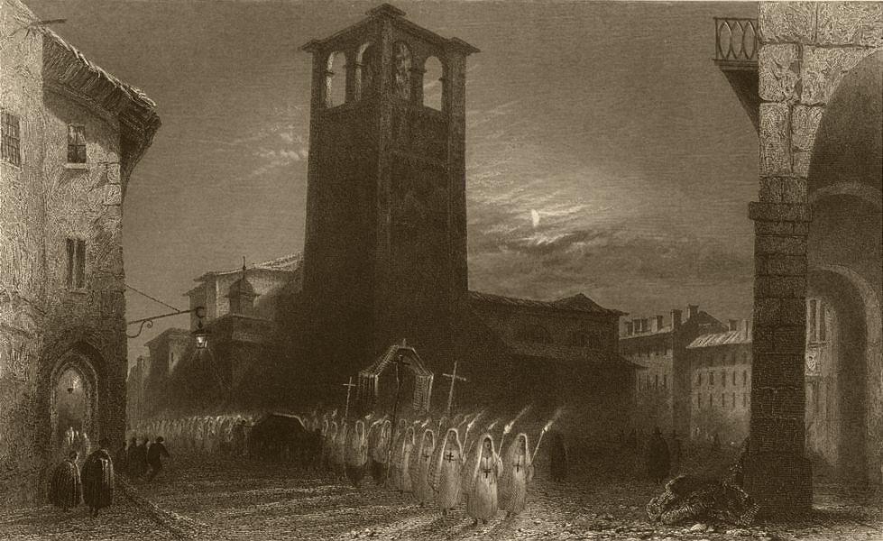 Associate Product PIEDMONT/PIEMONTE. Torchlight parade in Pinerolo (Feb 16th?) Nuns. BARTLETT 1838