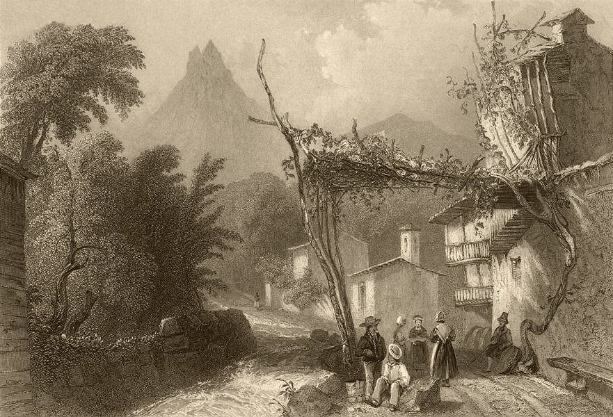 Associate Product PIEDMONT/PIEMONTE. The Protestant Church at Bobbio, Val Pellice. BARTLETT 1838