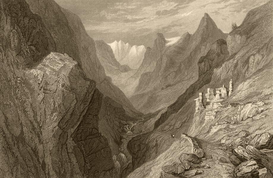 Associate Product PIEDMONT/PIEMONTE. Ruins of Fort Mirabouc 1838 old antique print picture