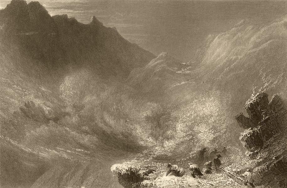 Associate Product HAUTES-ALPES/PIEDMONT. The Col de la Croix. Snowstorm. BARTLETT 1838 old print