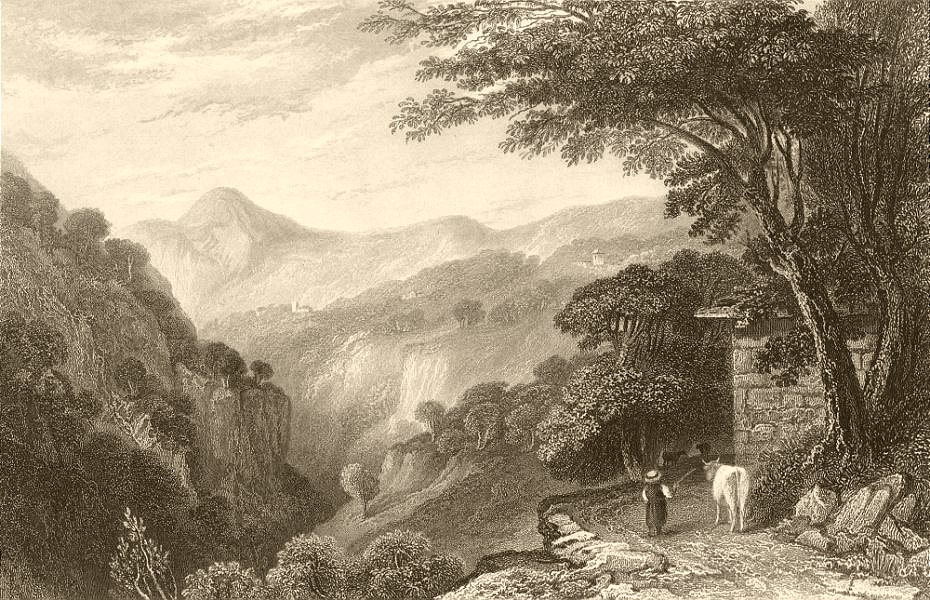 Associate Product PIEDMONT/PIEMONTE. View of Val Angrogna. Cattle 1838 old antique print picture