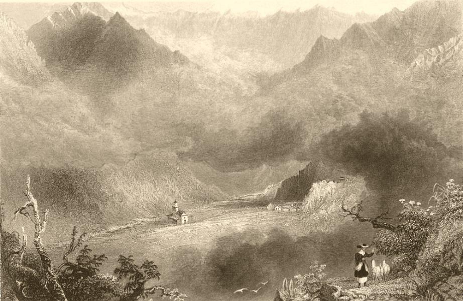 PIEDMONT/PIEMONTE. View of Pradeltorno. Goats & goatherd. BARTLETT 1838 print