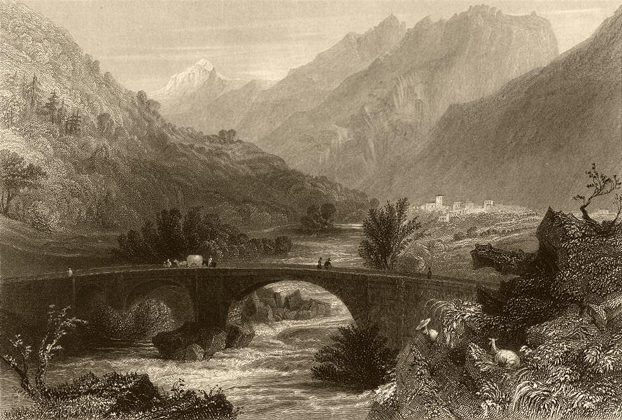 Associate Product PIEDMONT/PIEMONTE. View of Pomaretto. Hay cart on bridge. BARTLETT 1838 print