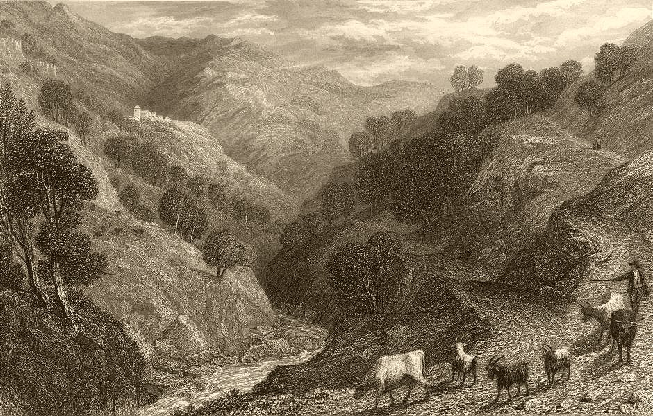 Associate Product PIEDMONT/PIEMONTE. View of Maniglia in the Val Germanasca. Cattle & goats 1838
