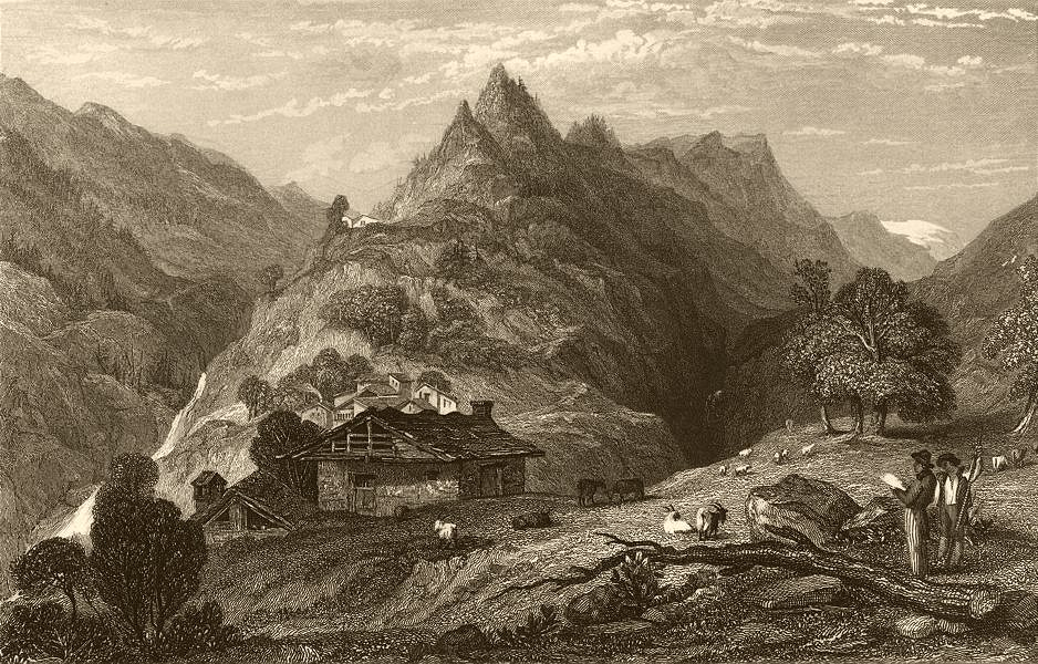 Associate Product PIEDMONT/PIEMONTE. The Balsiglia. Cattle & goats 1838 old antique print