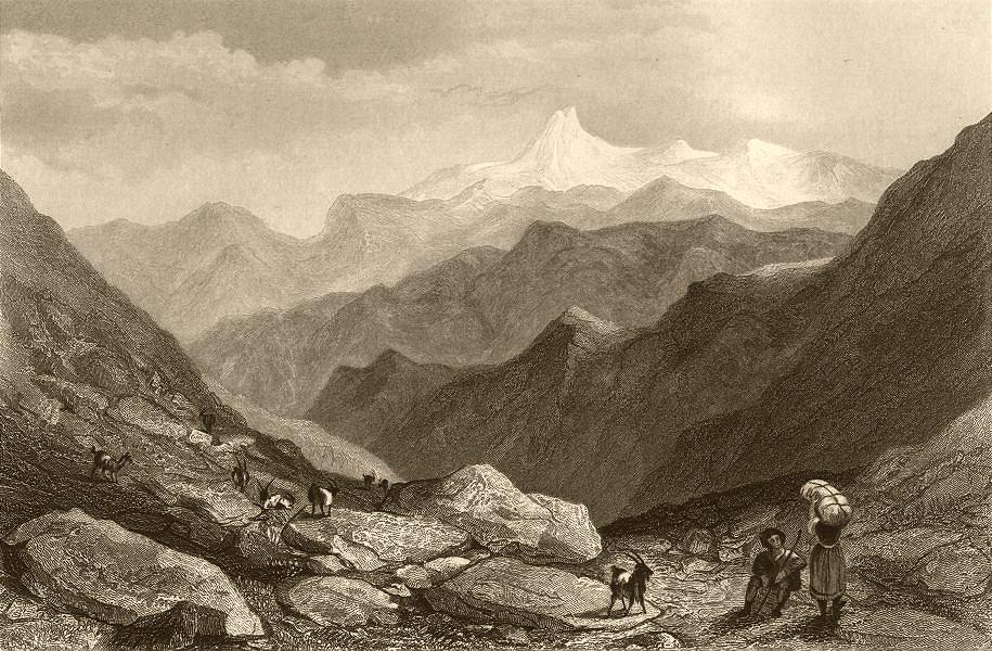 Associate Product PIEDMONT/PIEMONTE. Monte Viso from the Col de Julien. Goats & goatherd 1838
