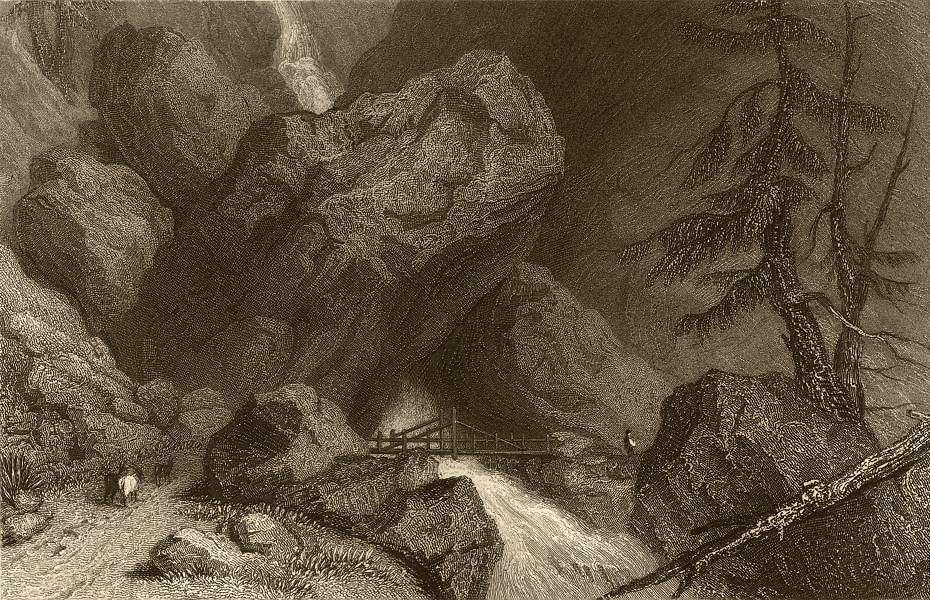 Associate Product SAVOIE. Scene in Val d'Isere, near Tignes. Rapids. Bridge. Goats 1838 print