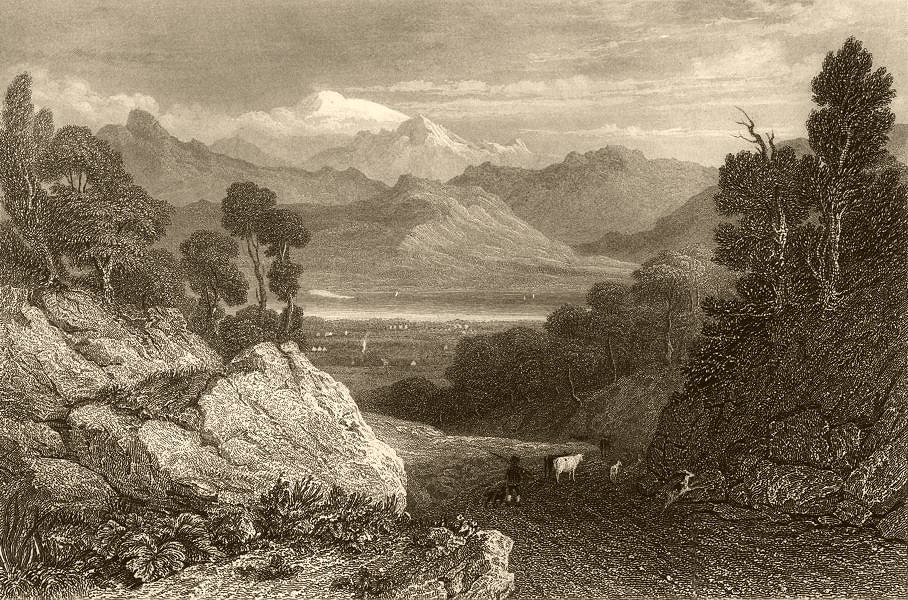 Associate Product SWITZERLAND. The Lake of Geneva, and Mont Blanc 1838 old antique print picture