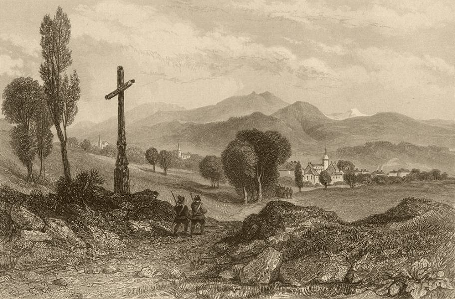 Associate Product HAUTE-SAVOIE. View of Böege. Waldensian soldiers returning 1838 print