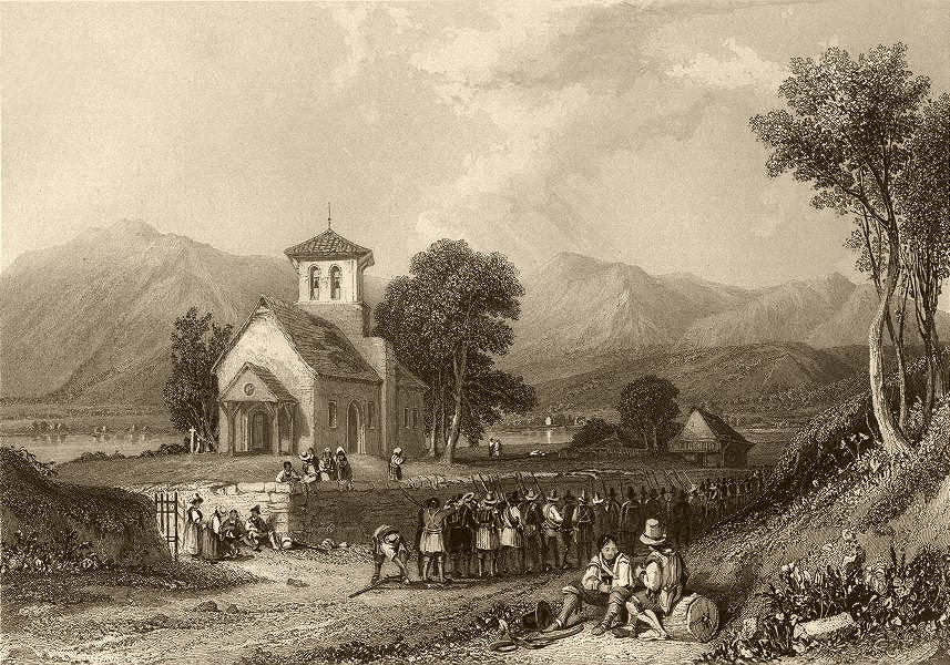 Associate Product HAUTE-SAVOIE. View of Fillinges. Church. Waldensians returning 1838 old print
