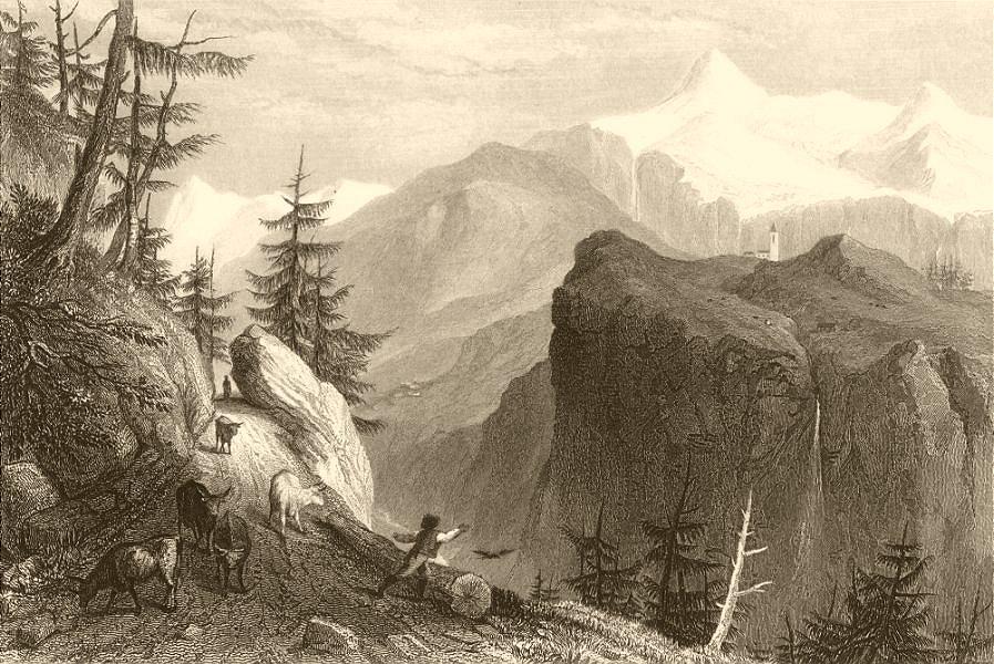 Associate Product SAVOIE. View of Gure (Val de Tignes) . Cattle 1838 old antique print picture