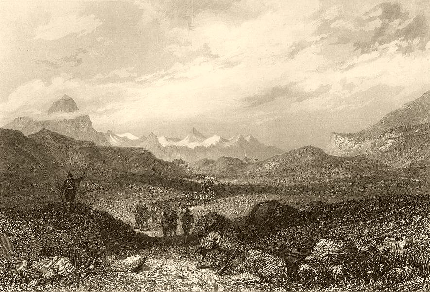 SAVOIE. The Col of the little Mont Cenis. Soldiers 1838 antique print