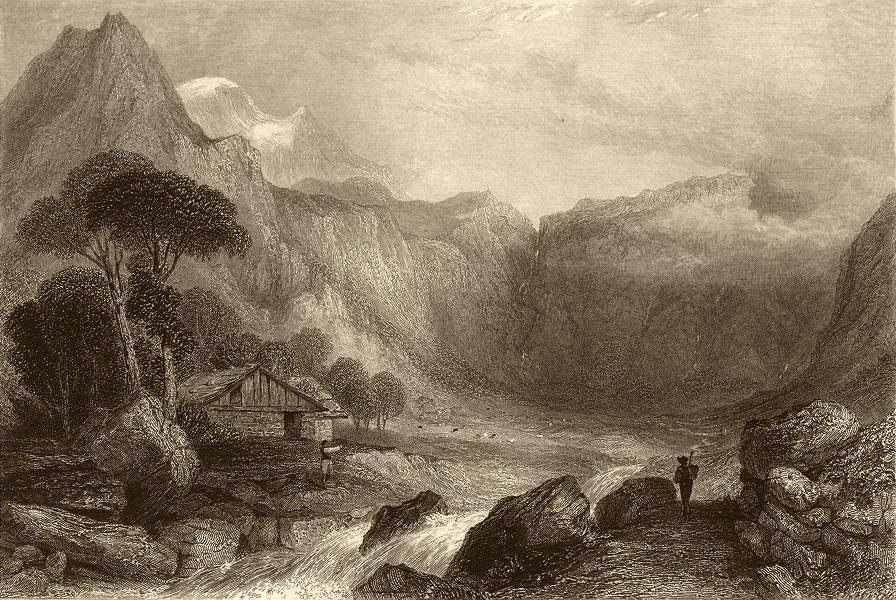 Associate Product PIEDMONT/PIEMONTE. Head of the Valley of Giaglione. Rapids 1838 old print
