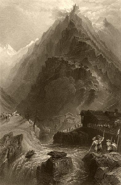 Associate Product PIEDMONT/PIEMONTE. The Balsiglia. Soldiers. BARTLETT 1838 antique print