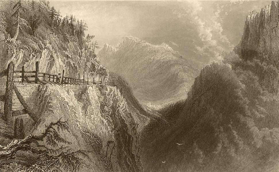 Associate Product PIEDMONT/PIEMONTE. Cesana on Mount Genevre. BARTLETT 1838 old antique print