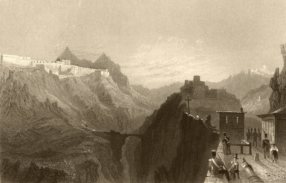 Associate Product HAUTES-ALPES. Approach to Briançon from Mont Genèvre. Soldiers. BARTLETT 1838
