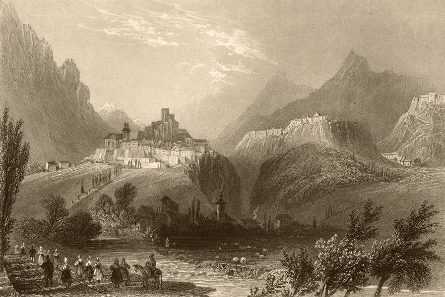 Associate Product HAUTES-ALPES. Approach to Briançon, from Mount Dauphin. BARTLETT 1838 print