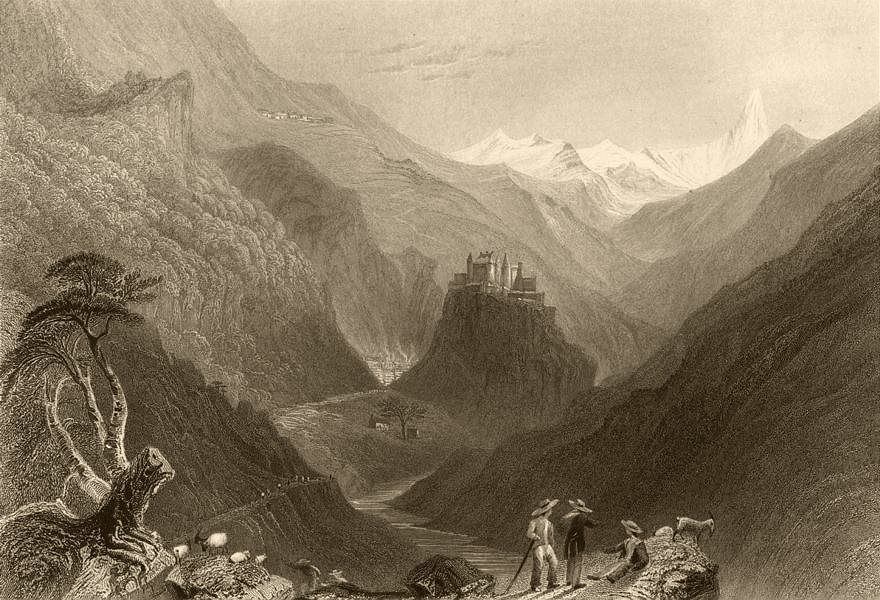 Associate Product HAUTES-ALPES. Val Queyras entry of the Valley Arvieux. Castle. BARTLETT 1838