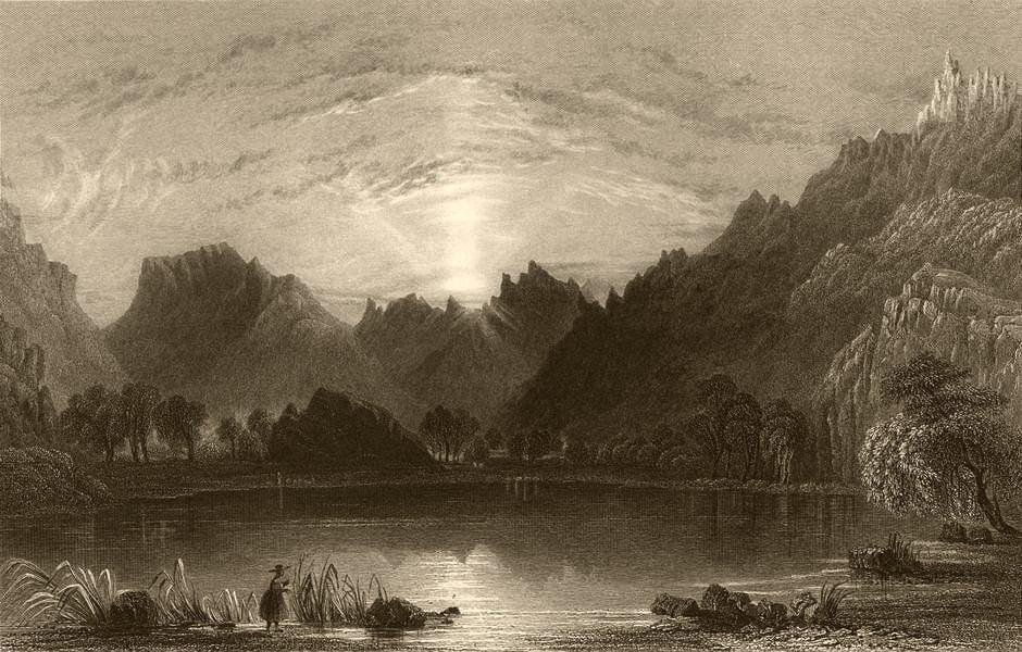 Associate Product HAUTES-ALPES. Lake la Roche. BARTLETT 1838 old antique vintage print picture