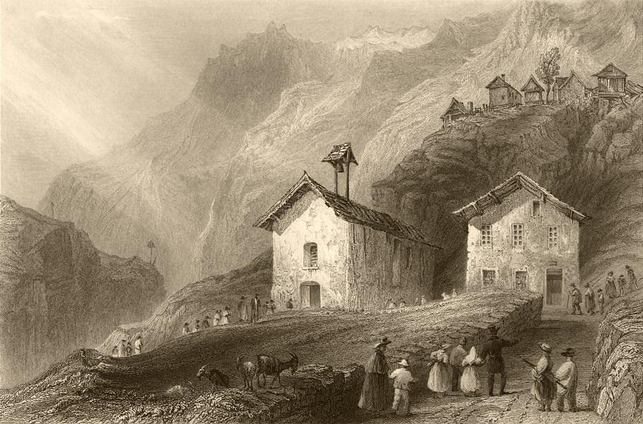 Associate Product HAUTES-ALPES. Church and School of Felix Neff, in Dormillouse. BARTLETT 1838