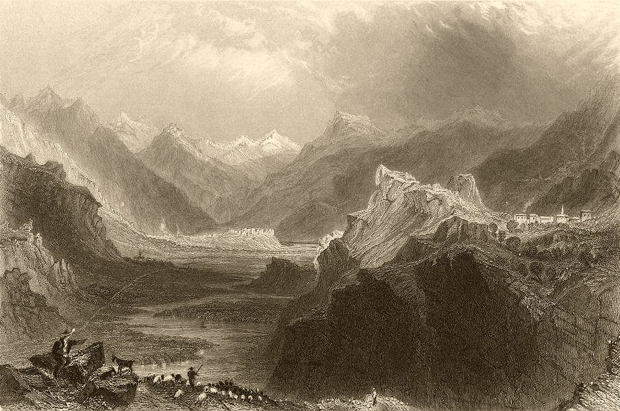 Associate Product HAUTES-ALPES. Mount Dauphin and Champcellas, Val Durance. BARTLETT 1838 print