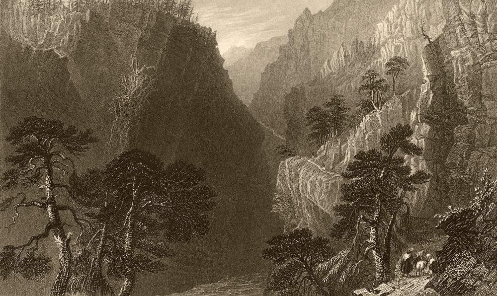 Associate Product HAUTES-ALPES. Pass of the Guill, between Mount Dauphin & Queyras. BARTLETT 1838