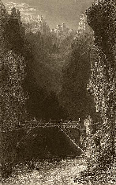 Associate Product HAUTES-ALPES. Bridge over the Guill, near Mount Dauphin. Goatherd. BARTLETT 1838