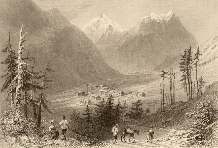 Associate Product HAUTES-ALPES. La Chalp and Brunissard. Donkey. Alps. BARTLETT 1838 old print