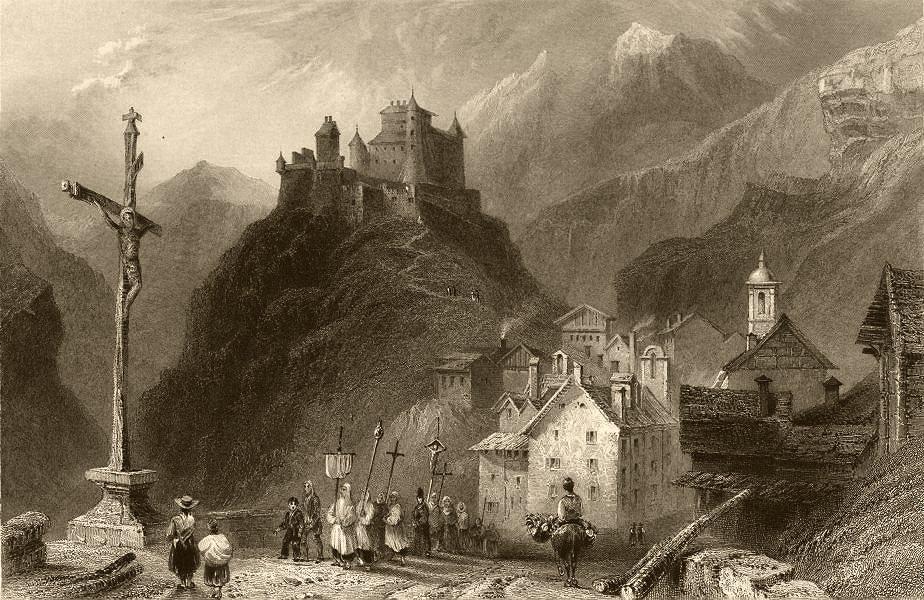 Associate Product HAUTES-ALPES. Château Queyras. Religious procession. Donkey. BARTLETT 1838