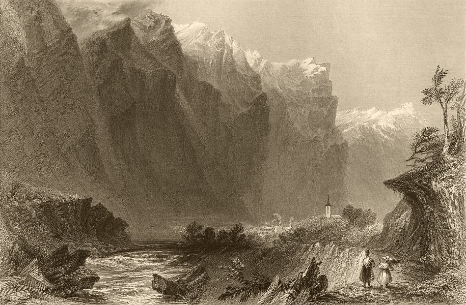 Associate Product HAUTES-ALPES. View of Pallon. Church. River valley. BARTLETT 1838 old print