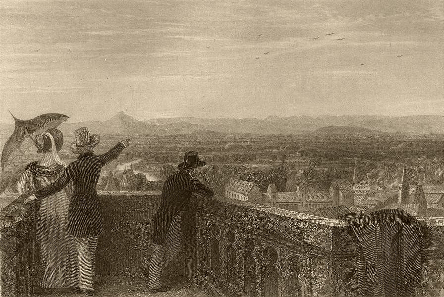 Associate Product STRASBOURG. Ban de la Roche mountains from the Cathedral. Lady & parasol 1838