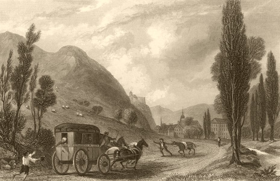 Associate Product BAS-RHIN. View of Schirmeck. Horses & carriage. 1838 old antique print picture