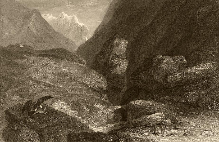 Associate Product SAVOIE. Pont de la Crêt. Eagle eating a goat. Alps 1838 old antique print