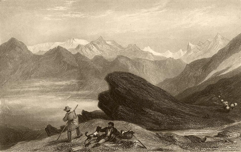 Associate Product SAVOIE. Vaudois Mountains from the Col de Touilles. Shepherds. Sheep. Dog 1838