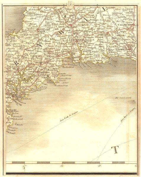 Associate Product STH CORNWALL.Falmouth Truro Fowey Bodmin Liskeard Looe St Austell.CARY 1794 map
