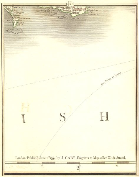 Associate Product DORSET COAST. Weymouth Portland Swanage St Albans Head Channel. CARY 1794 map