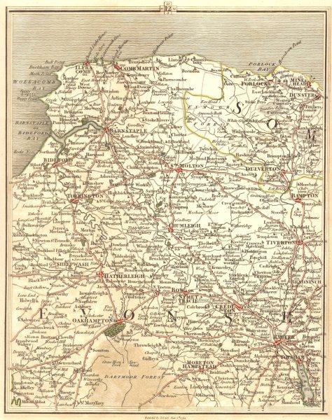 Associate Product NORTH DEVON.Exeter Ilfracombe Okehampton Dartmoor Exmoor Bideford.CARY 1794 map