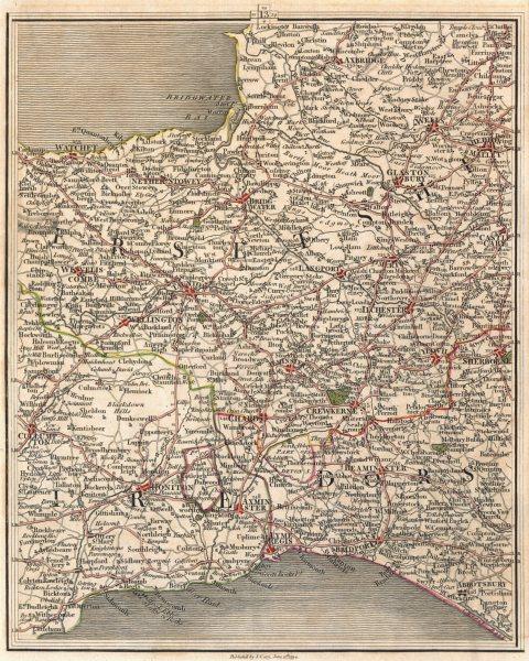 Associate Product SW ENGLAND.Devon Somt Dorset.Wells Glastonbury Taunton Lyme Regis.CARY 1794 map