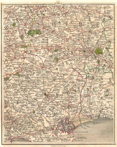 Associate Product SALISBURY PLAIN DORSET COAST. Wilts Poole Bournemouth Dorchester. CARY 1794 map