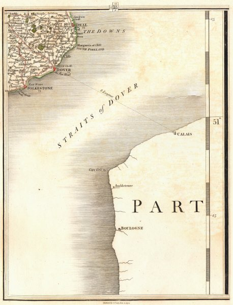 Associate Product DOVER STRAIT CHANNEL PORTS. Kent Deal Folkestone Calais Boulogne. CARY 1794 map
