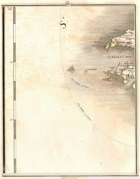 PEMBROKESHIRE. St. Davids St Bride's Bay Solva Dale. Wales. CARY 1794 old map