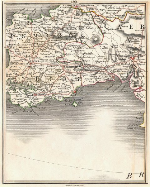 Associate Product SW WALES.Cardigan Haverfordwest Tenby Pembroke Carmarthen Milford.CARY 1794 map