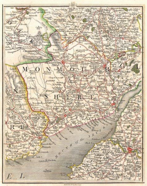 Associate Product SEVERN ESTUARY. Bristol Newport Cardiff Monmouth Abergavenny. CARY 1794 map