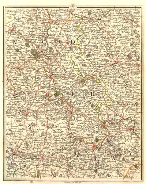 Associate Product THAMES VALLEY & CHILTERNS.Oxford Reading Henley Marlow Maidenhead.CARY 1794 map
