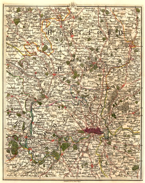 Associate Product LONDON & HOME COUNTIES. Hertfordshire Middlesex Chilterns Luton. CARY 1794 map