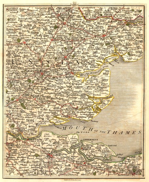Associate Product THAMES ESTUARY.Essex Kent Colchester Chelmsford Dartford Southend.CARY 1794 map