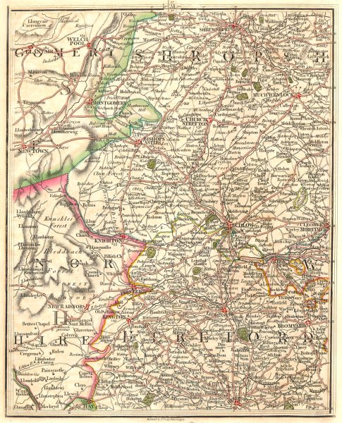 WELSH MARCHES.Shrops Radnor Montgomery.Shrewsbury Ludlow Hereford.CARY 1794 map