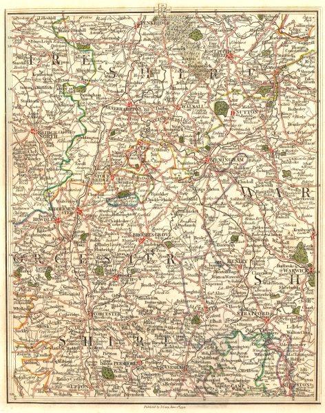 WEST MIDLANDS. Birmingham Wolverhampton Warwick Stratford On Avon. CARY 1794 map