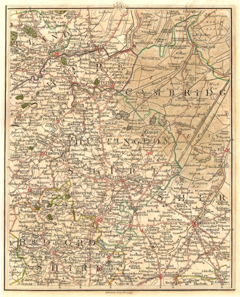 Associate Product EAST ENGLAND.Isle of Ely Fens Cambridge Peterborough Bedford Hunts.CARY 1794 map